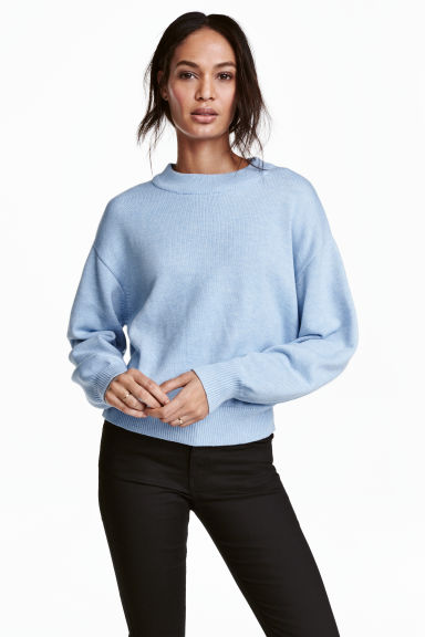 Knitted jumper - Light blue marl - Ladies | H&M CN 1