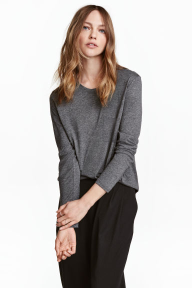 Long-sleeved top - Dark grey marl - Ladies | H&M 1