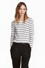 Boat-neck top - White/Striped - Ladies | H&M CN 1