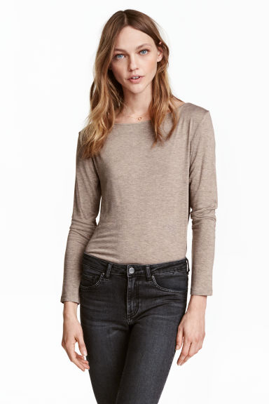 Boat-neck top - Beige marl - Ladies | H&M CN 1