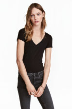 V-neck jersey top - Black - Ladies | H&M IE 2