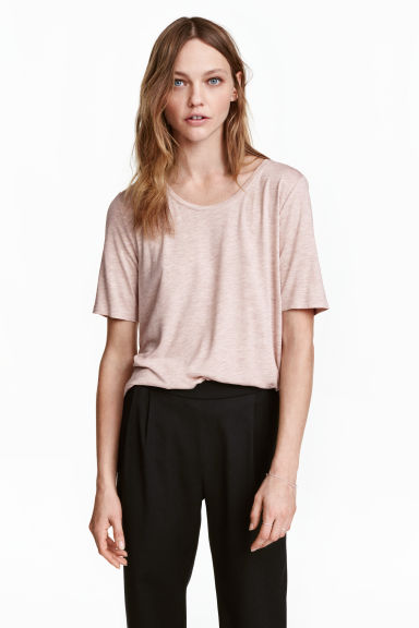 Jersey top - Light pink marl -  | H&M
