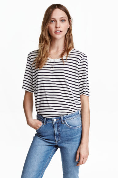 Top in jersey - Bianco/nero righe - DONNA | H&M IT 1