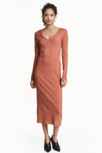 Long ribbed dress - Rust - Ladies | H&M 1