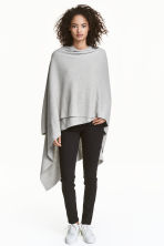 Fine-knit poncho - Light grey marl - Ladies | H&M CN 1