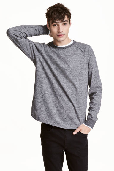 Sweatshirt with raglan sleeves - Dark grey marl - Men | H&M CN 1