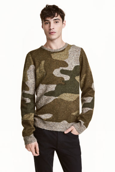 Fine-knit jumper - Khaki/Patterned - Men | H&M CN 1