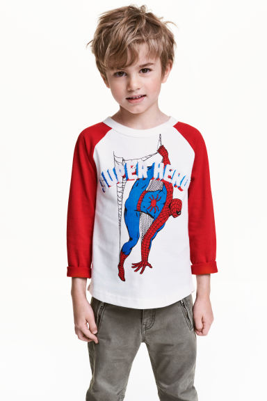 Long-sleeved T-shirt - Red/Spiderman - Kids | H&M 1