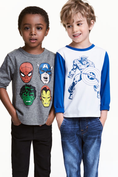 2-pack long-sleeved T-shirts - White/Marvel Comics -  | H&M