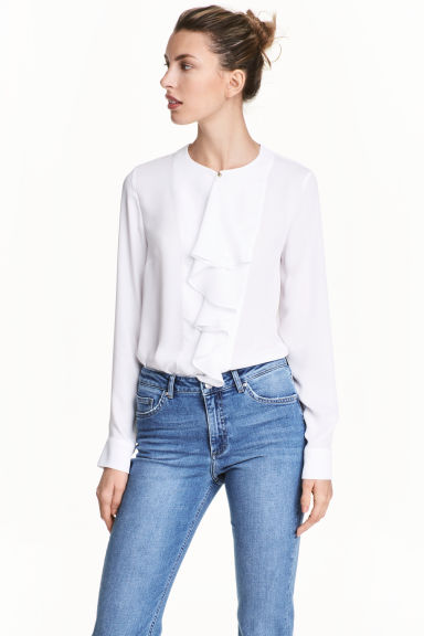 Ruffled blouse - White - Ladies | H&M CN 1