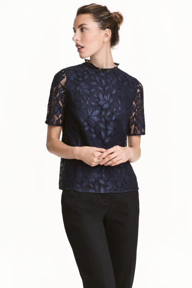 Lace top - Dark blue - Ladies | H&M 1