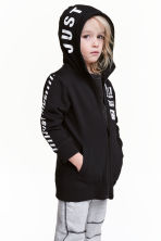 Printed hooded jacket - Black - Kids | H&M CN 1