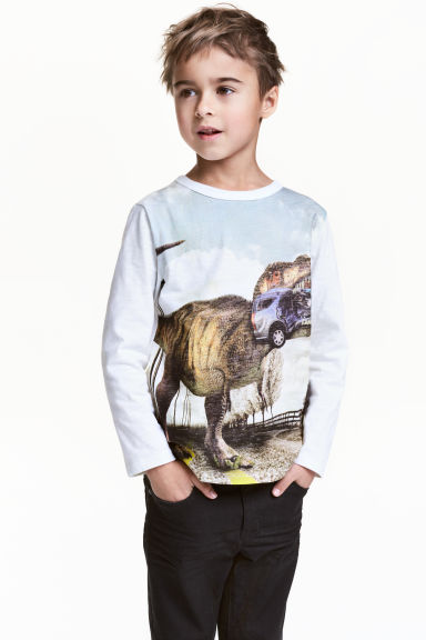 Long-sleeved T-shirt - White/Dinosaur - Kids | H&M 1