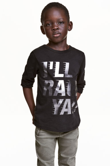 Long-sleeved T-shirt - Black - Kids | H&M 1