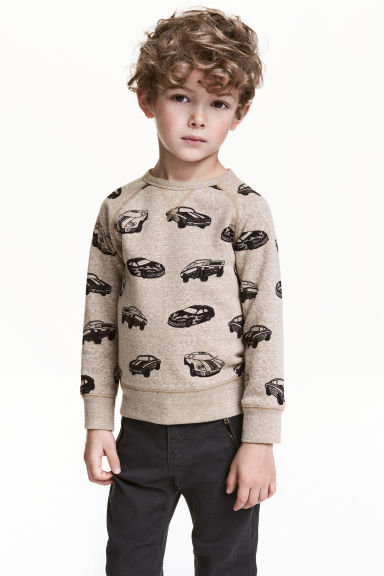 Printed sweatshirt - Beige/Cars - Kids | H&M