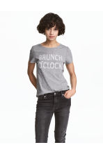 Printed T-shirt - Grey marl - Ladies | H&M 1
