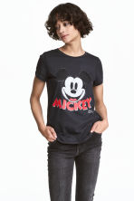 Printed jersey top - Dark grey/Mickey Mouse - Ladies | H&M 1