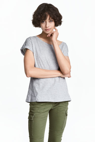 Short-sleeved top - Grey marl - Ladies | H&M