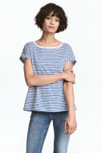 Short-sleeved top - White/Blue striped -  | H&M 1
