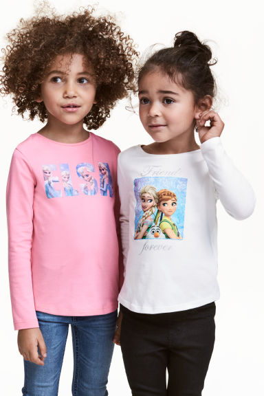 2-pack long-sleeved tops - White/Frozen -  | H&M 1