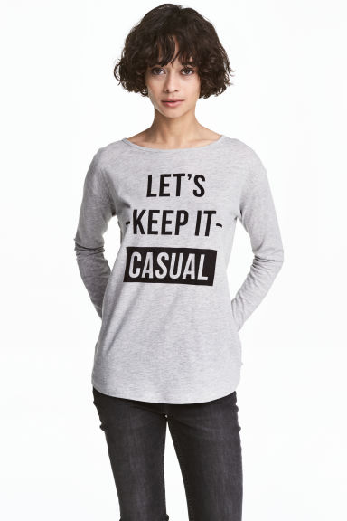 Long-sleeved top - Grey marl - Ladies | H&M 1