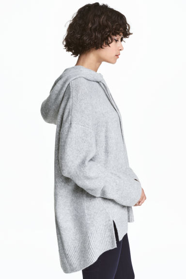 Knitted hooded jumper - Grey marl - Ladies | H&M 1