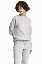 Printed sweatshirt - Light grey marl - Ladies | H&M 1