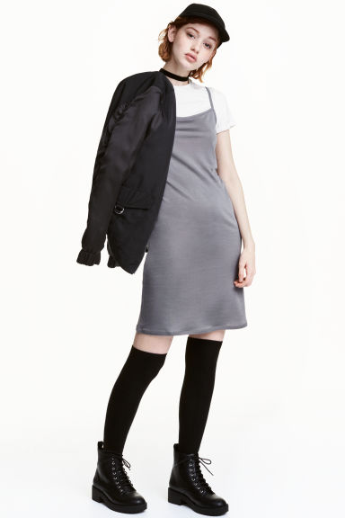 Slip dress with a top - Dark grey - Ladies | H&M 1