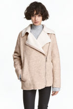 Wool-blend biker jacket - Light beige marl - Ladies | H&M 1