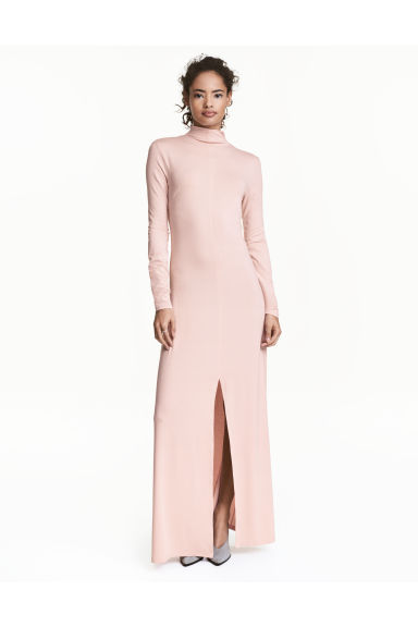 Turtleneck maxi dress - Powder pink - Ladies | H&M 1