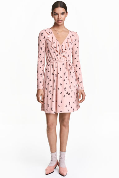 Wrap dress - Light pink/Swallows - Ladies | H&M CN 1