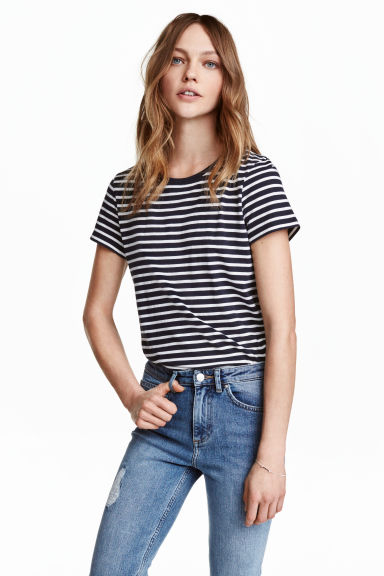Cotton T-shirt - Dark blue/Striped - Ladies | H&M GB 1