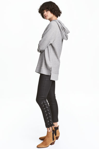 Coated trousers with lacing - Black - Ladies | H&M CN 1