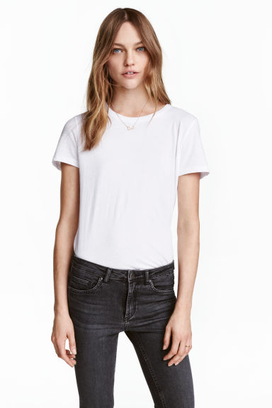 Cotton T-shirt - White - Ladies | H&M CN 1