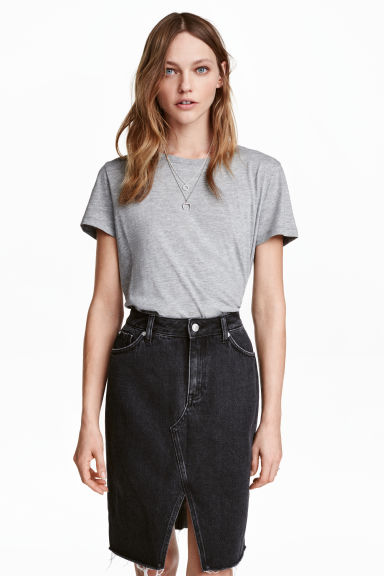 Cotton T-shirt - Grey marl -  | H&M