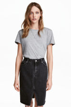 Cotton T-shirt - Grey marl - Ladies | H&M CN 1
