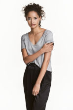 V-neck top - Grey - Ladies | H&M 1