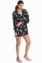 V-neck jumpsuit - Black/Floral - Ladies | H&M 1