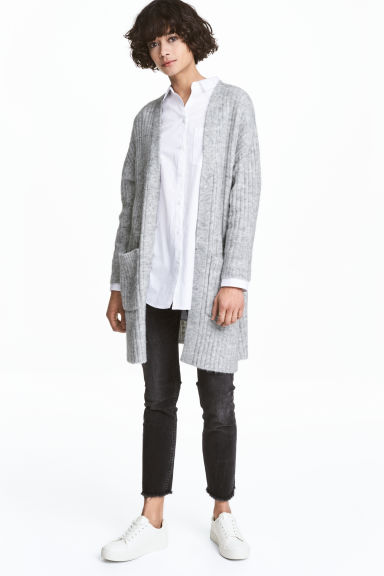 Rib-knit cardigan - Grey marl - Ladies | H&M 1