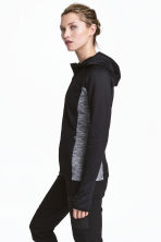 Fleece jacket with a hood - Black/Grey marl - Ladies | H&M CN 1
