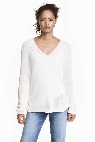 Knitted jumper - White - Ladies | H&M 1