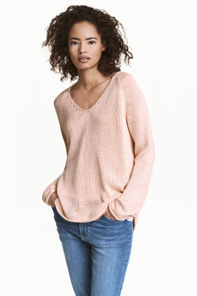 Knitted jumper - Light pink - Ladies | H&M CN 1