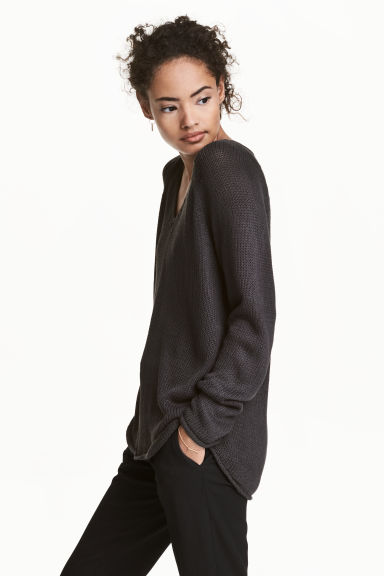 Knitted jumper - Dark grey - Ladies | H&M CN
