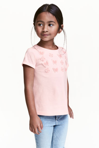 Short-sleeved top - Light pink/Butterflies -  | H&M CN