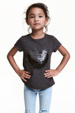 Short-sleeved top - Dark grey/Heart - Kids | H&M CN 1