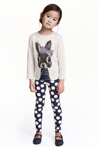 Printed leggings - Dark blue/Spotted - Kids | H&M