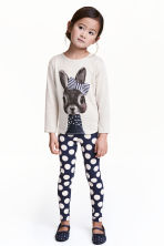 Printed leggings - Dark blue/Spotted - Kids | H&M CN 1