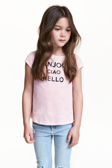 Top in jersey con stampa - Rosa chiaro -  | H&M IT