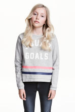 Sweat avec impression - Gris chiné -  | H&M FR 1