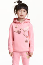 Printed hooded top - Pink/Butterflies - Kids | H&M 1